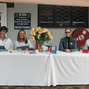 Volunteers helping at registration table